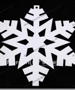 adorno navideño madera copo blanco 17cm mercerias.net