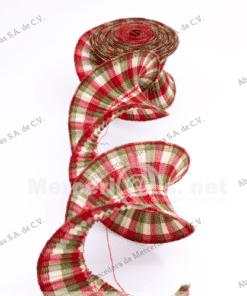 cinta plisada beige rojo mercerias.net