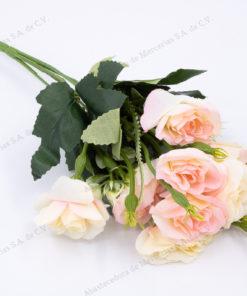ramo-rosas-color-crema-rosa-con-10-flores-artificial-de-venta-en-abastecedorademercerias.com
